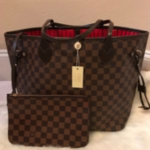 Louis Vuitton Neverfull MM Shoulder Tote Bag Set